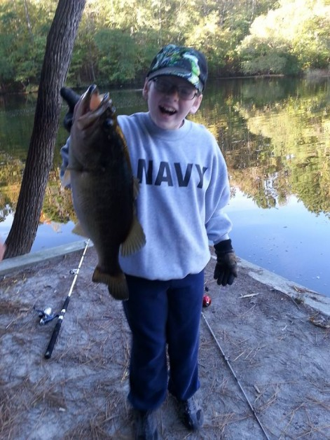 From Russell Ragle: My 12 year old son Ethan caught this 20 1/4 inches 4lbs 8 once large mouth today in chesapeake Virginia