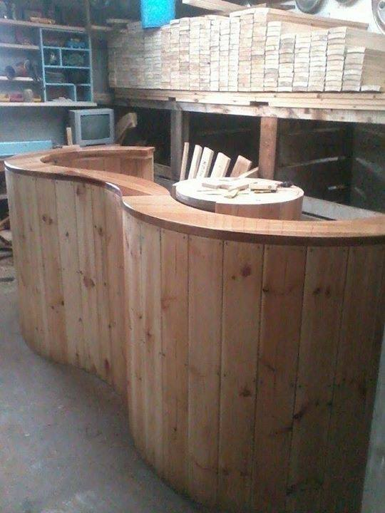 From Clark Recycled Furniture: These are some of the bar\leaner's I've been making from big cable drums left over from when I was working laying fibre optic cable with recycled rimu (New Zealand red pine) tops for peoples man caves and outdoor spaces
