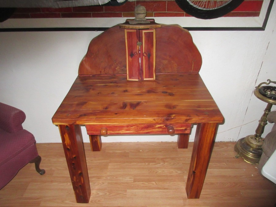 From Daniel Walker: Just wanted to share a recent project, this desk is made from redwood cedar & tamarack.