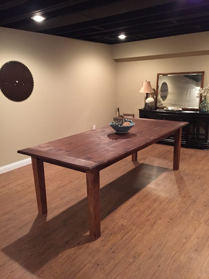 From James Ethan Berry: Walnut, Farmhouse table with breadboard ends I built for my basement.