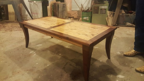 From Kevin Farmer: I built this as a house warming gift for my cousin this fall. It is made from bug white oak and black Walnut with a golden pecan stain and helmsman semigloss.  Used biscuit joints to hold it all together. All the wood was cut on my Woodmizer super hydraulic bandsaw. I'm from Atlanta tx
