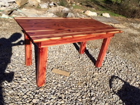 From Lawrence Meredith: Local aromatic cedar table for our sun room.