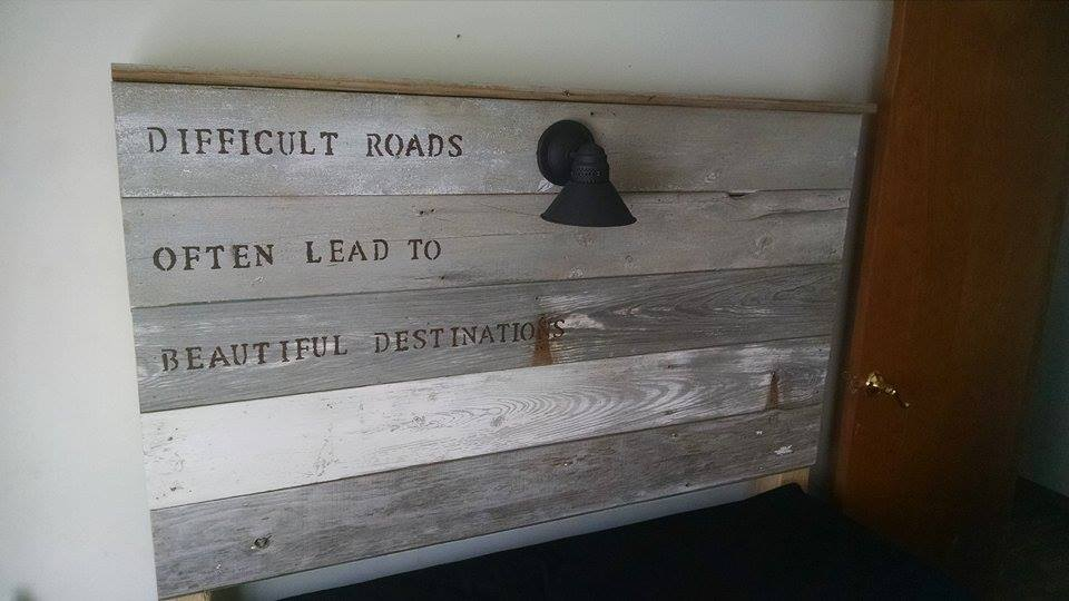 From Robert Ray: Made this headboard out of old barn siding