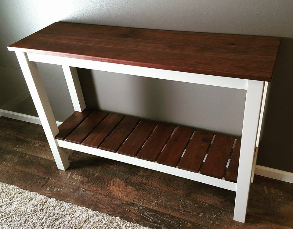 From Shawn Moore: I made this sofa table for our foyer. Walnut finished with Danish oil and poplar frame shot with my Earlex spray station.