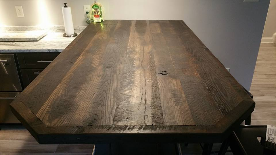 From Todd Dillingham‎: Reclaimed oak bar top. Fumed and finished with Rubio Monocoat Black oil.