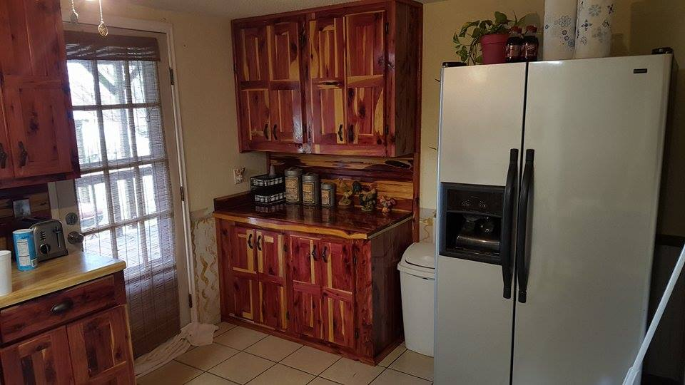 From Troy Wallace: Here is a pic of my kitchen cabinets I built!