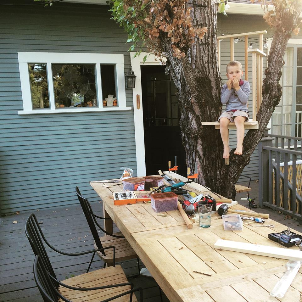 From Vanessa von Hessert: Here's a whimsical project I took on last summer with my 5-year-old son. It's a tree house dining chair for the kids.