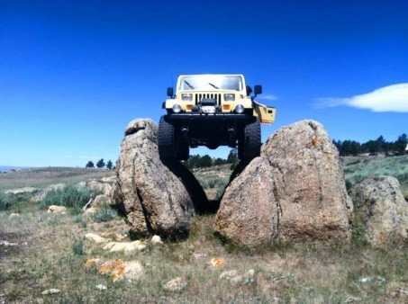 From Wally Schamber: Another picture of my yj on the oil changer.