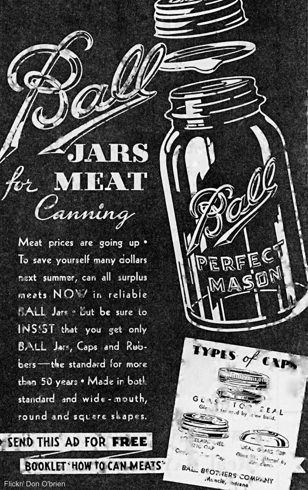 Black & White Vintage Ball Jar Advertisement