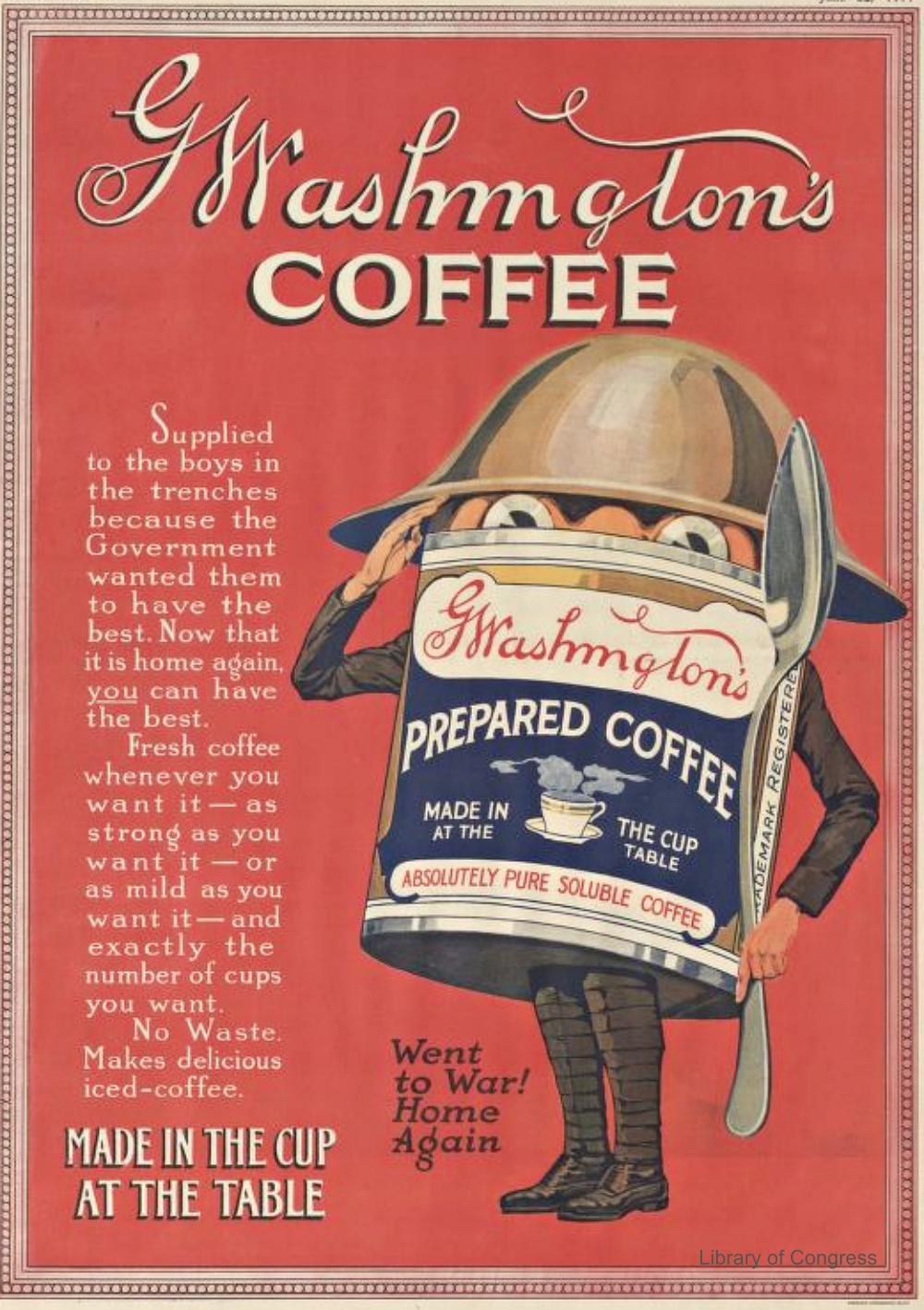 WWI Washington Coffee Advertisement