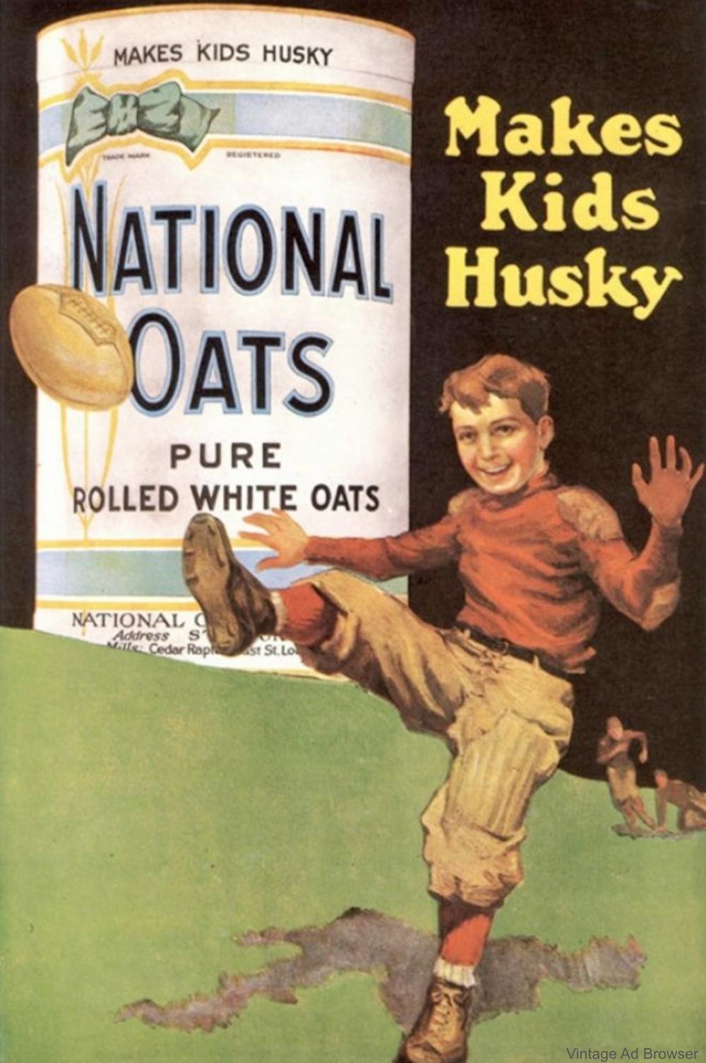 National Oats Makes Kids Husky Vintage Advertisement