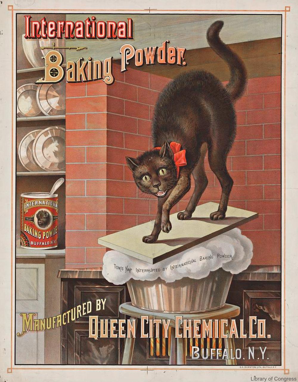 International Baking Powder Advertisement with Cat