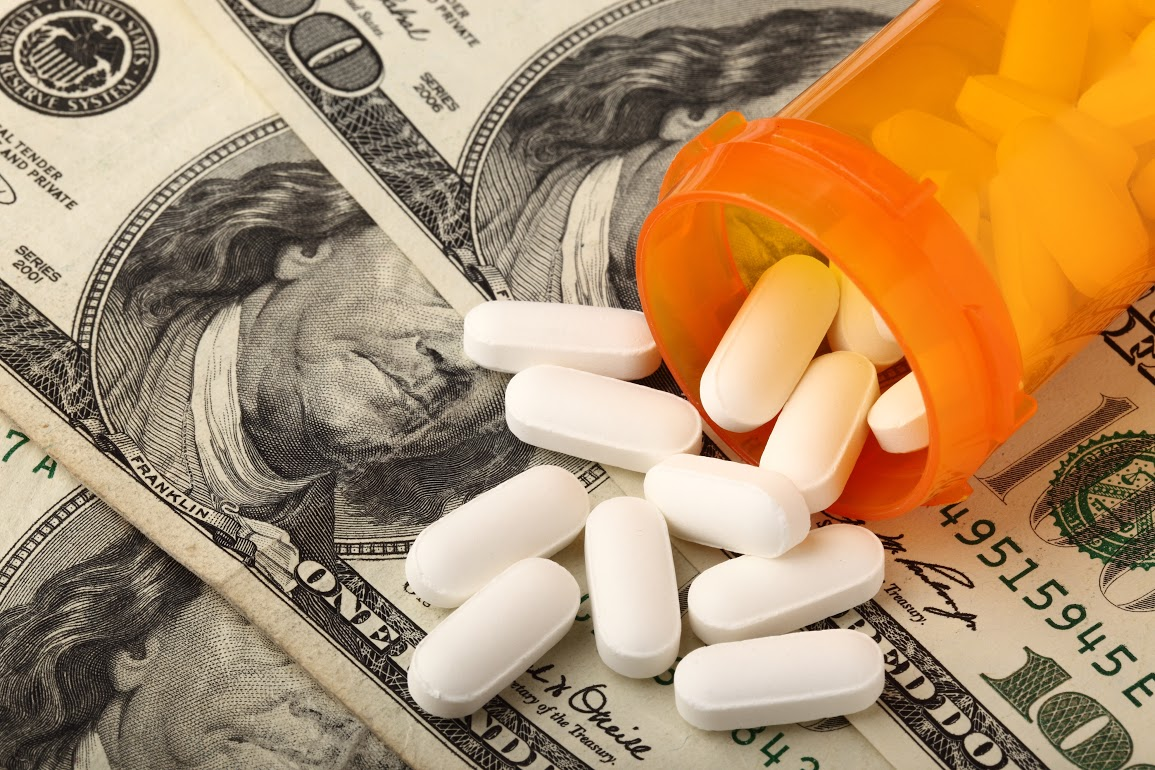 Prescription drugs with US dollar to indicate medicine is very expensive