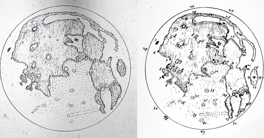 Drawings by Thomas Harriot, via The Galileo Project