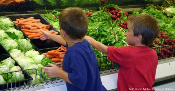 boys shopping for produce