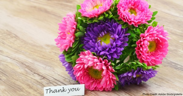 Thank you card with colorful daisy flower bouquet