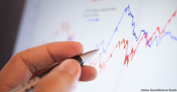 Detail of a stock market graph on a computer screen