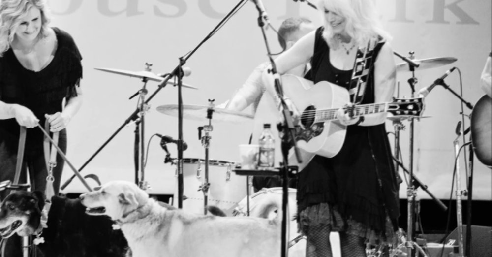 Emmylou Harris performing with shelter dogs Via ShelterMe.tv