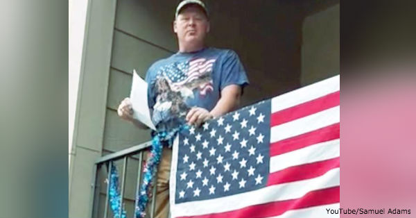 Samuel Adams intends to fly his American flag from his balcony, even if it means he faces eviction.