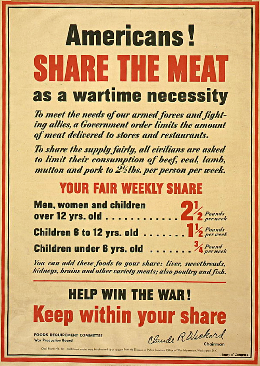 Share the Meat WWII Poster