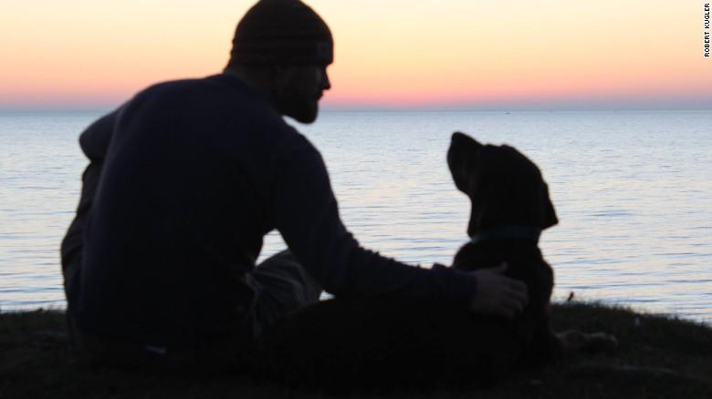 Kugler and Bella visit Lake Erie. (Credit: Robert Kugler)