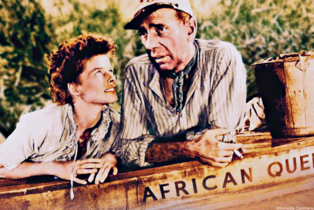 Katharine Hepbrun and Humphrey Bogart in The African Queen