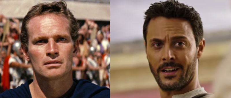 Charlton Heston (left) and Jack Huston as Judah Ben-Hur