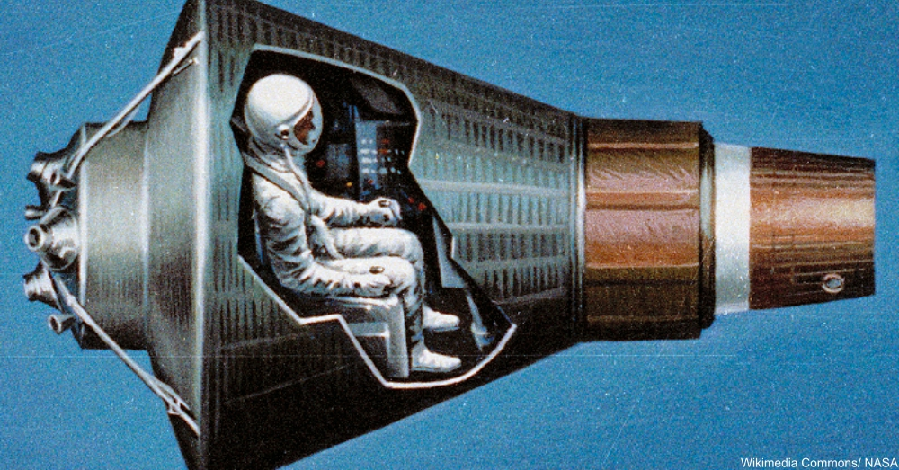 Cutaway of Astronaut Inside Mercury Spacecraft 1964