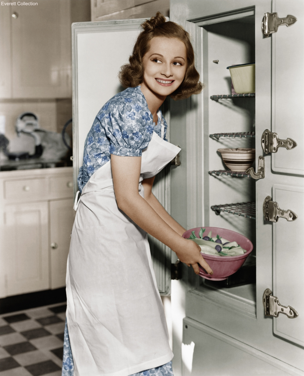 Housewife Removing a Bowl of Veggies from the Icebox