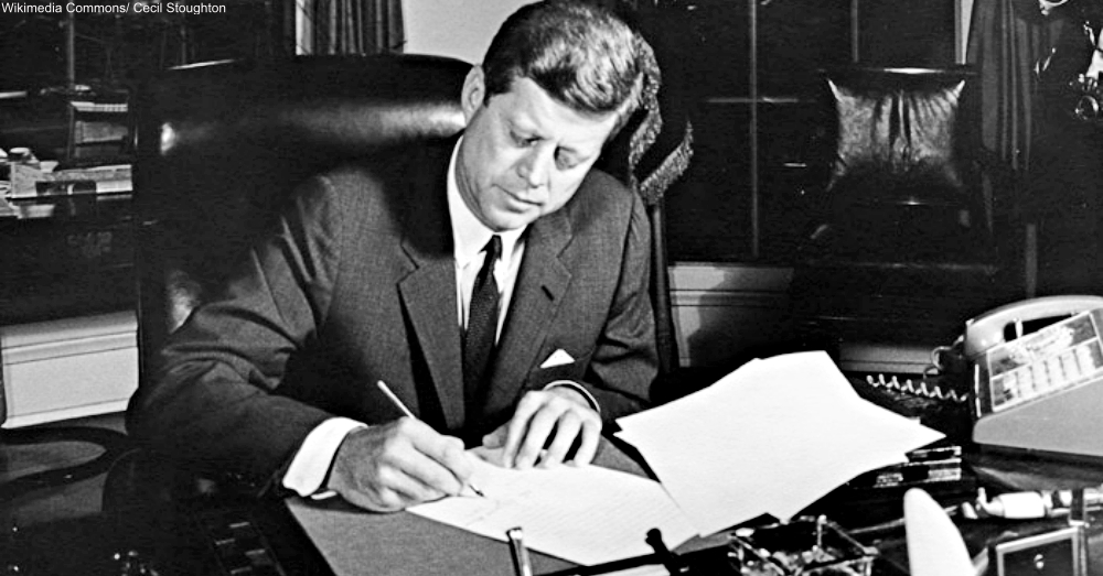 JFK Signing Proclmation 3504 for the Naval Quarantine of Cuba