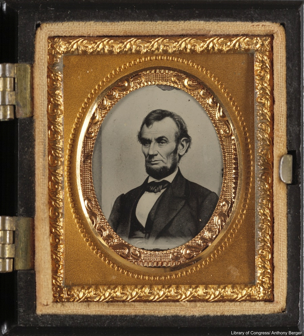 Gold-framed Tintype of Abraham Lincoln from 1864