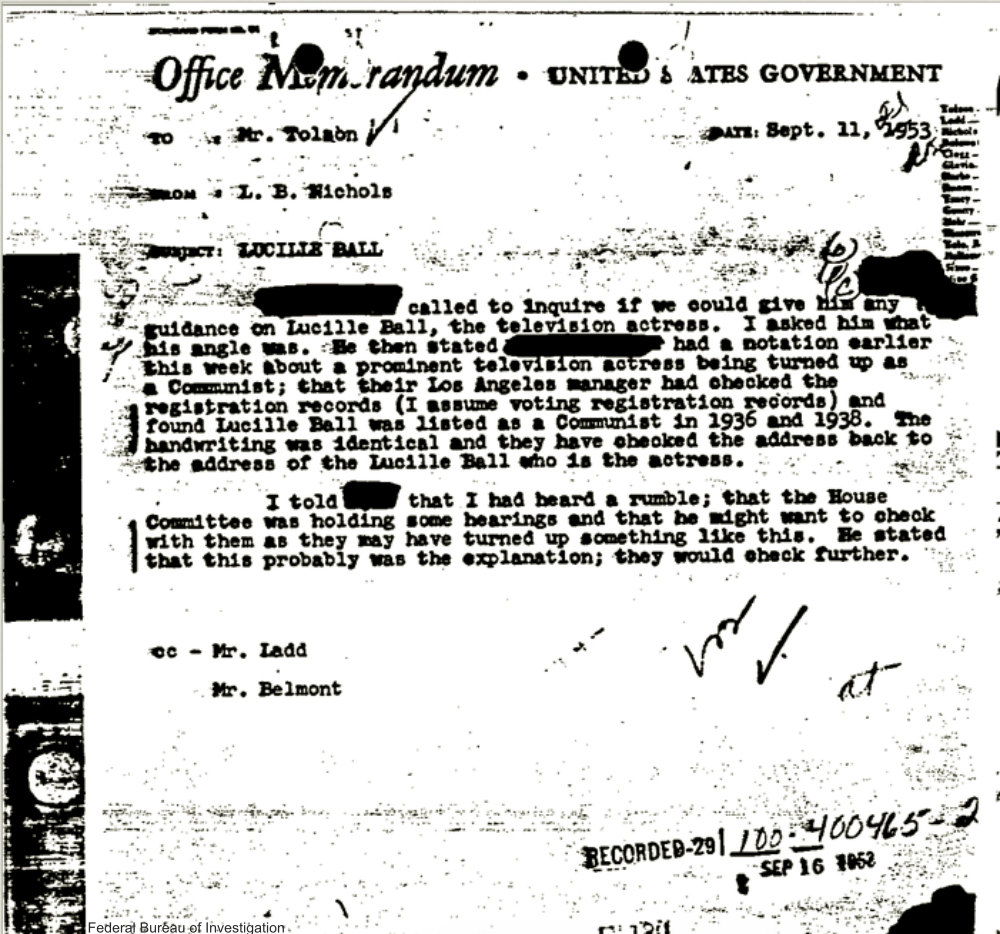 Page 9 of FBI Papers on Lucille Ball