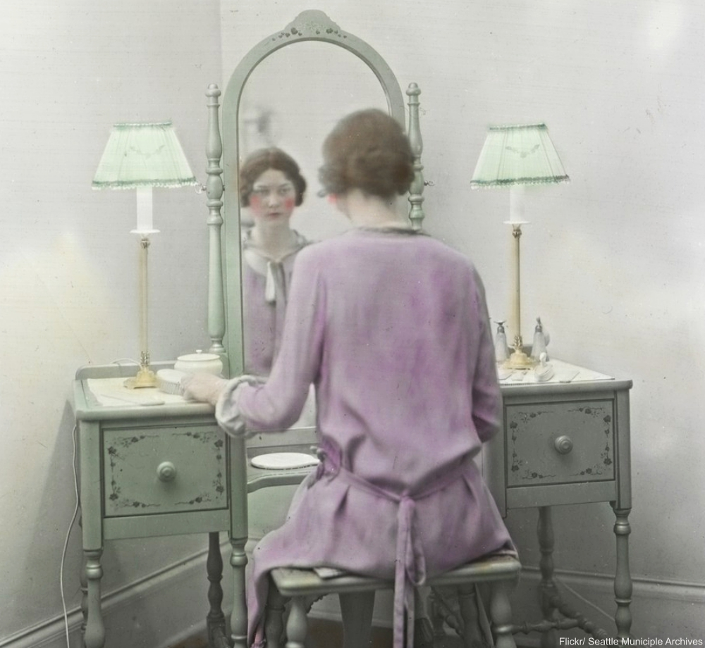 Mirror at Vanity with Woman Sitting