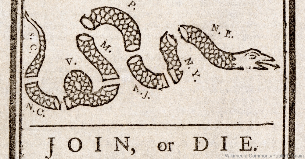 Join or Die Benjamin Franklin Flag