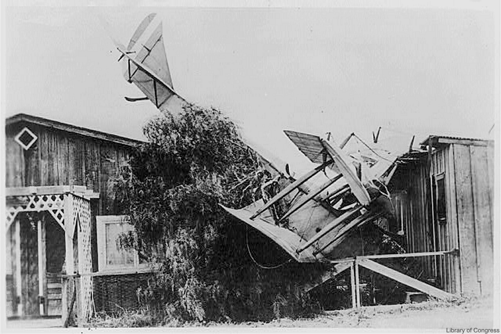 Crashed French bi-plane during WWI