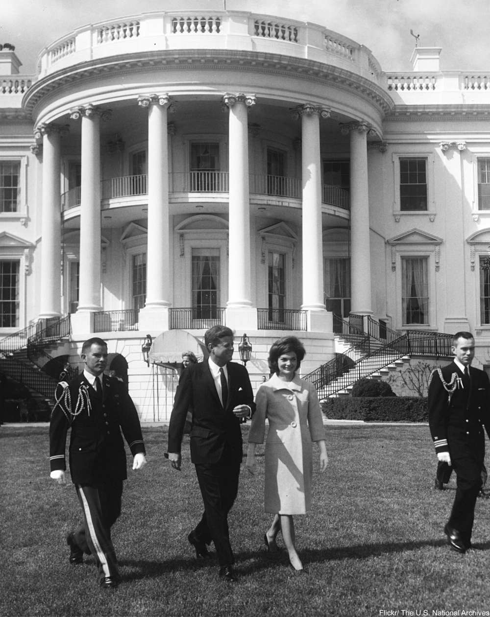JFK on White House lawn with Jackie