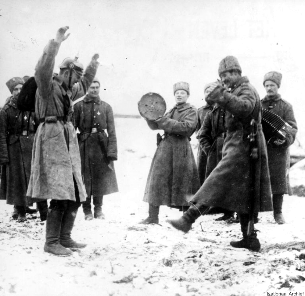 Russian Soldier Teaching German POWs a Cossack Dance in the Snow 1915