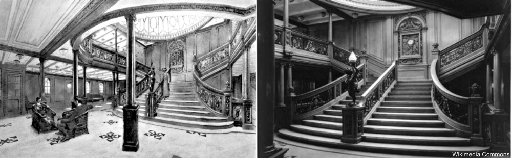 Comparison of the grand staircases of RMS Olympic and Titanic