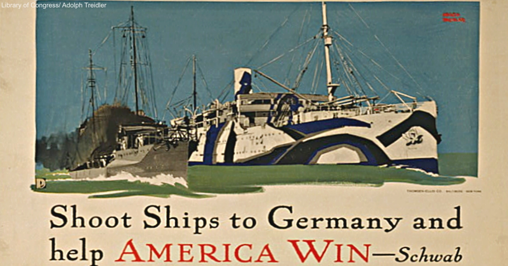 World War I poster by Adolph Treidler showing dazzle camouflage