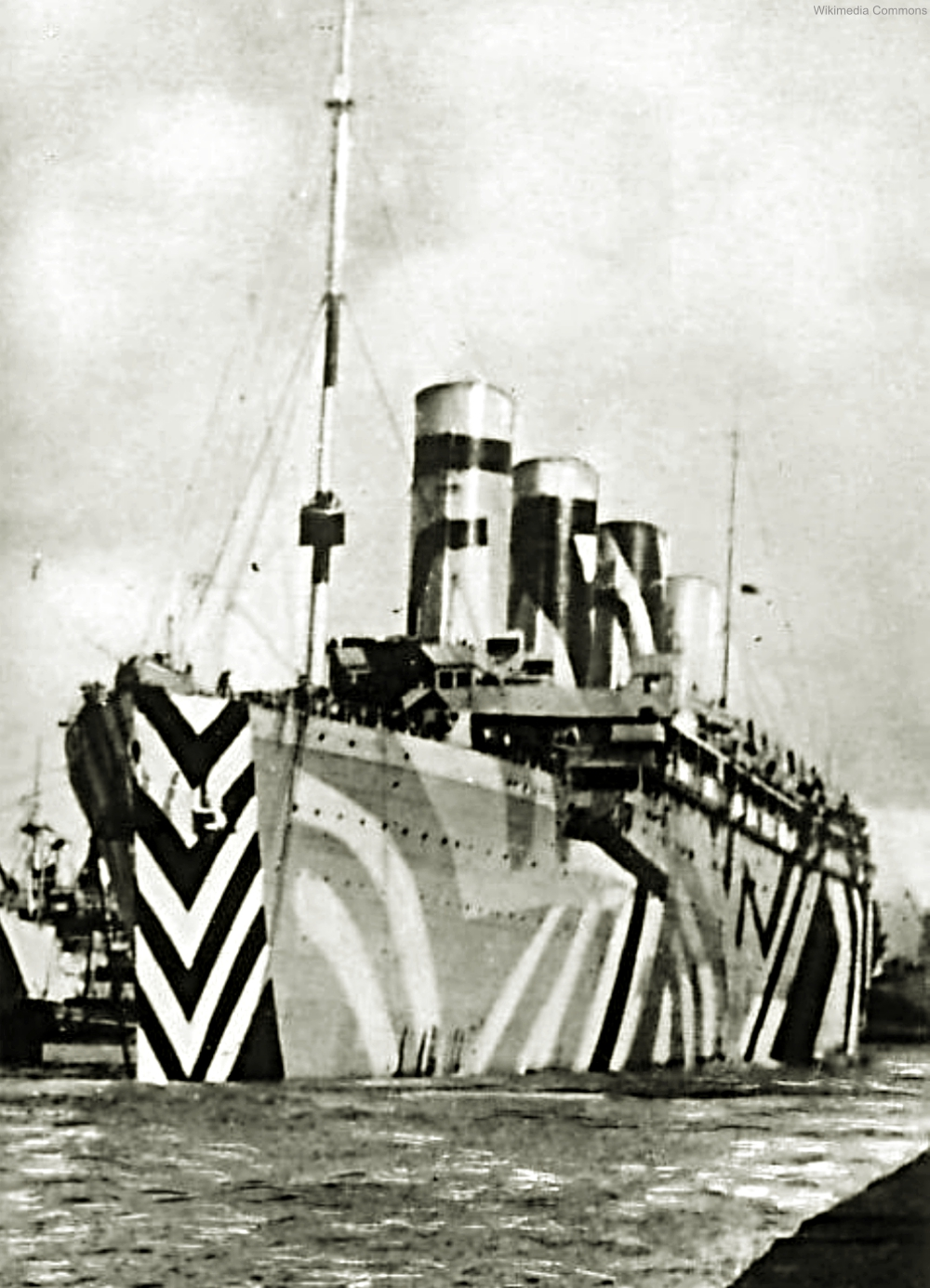 RMS Olympic in dazzle paint.