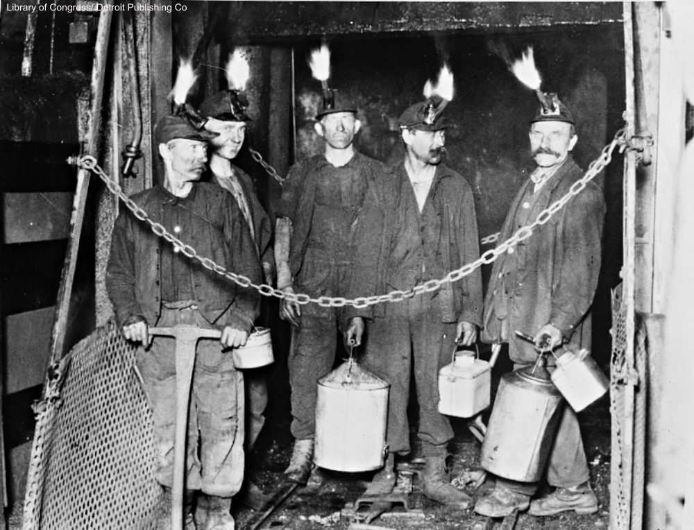 miners coming off shift circa 1915