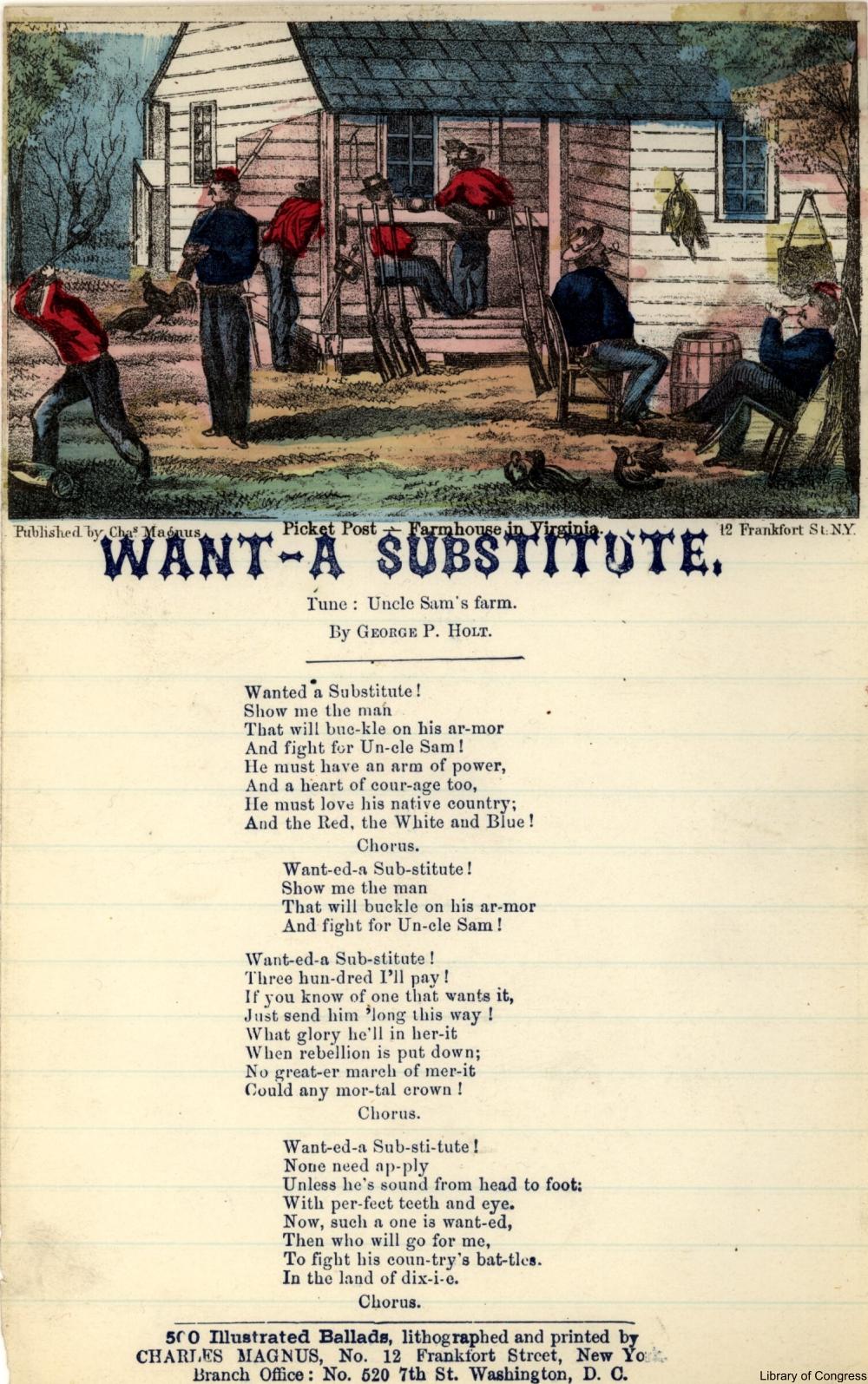 Want a substitute song sheet Civil War Era