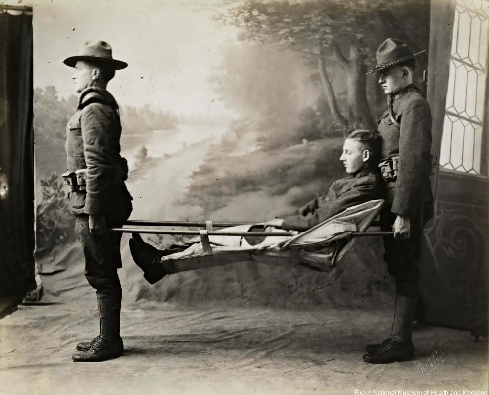 WWI era soldier on stretcher