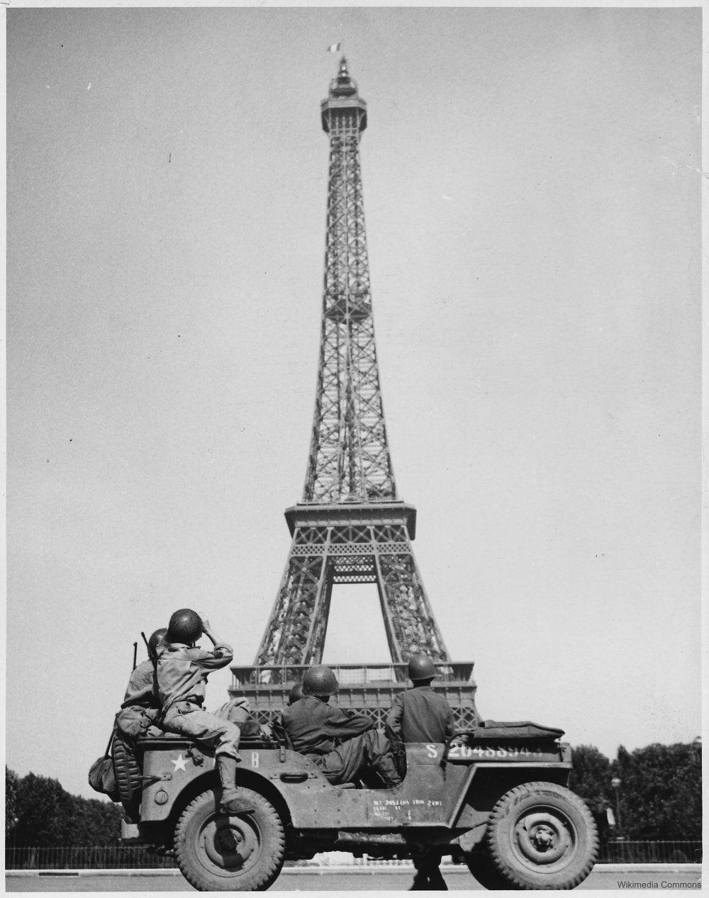 Eiffel Tower in 1945 with American Troops in jeep