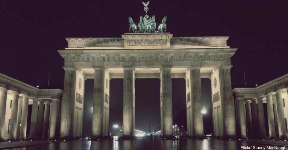 The Brandenburg Gate in Berlin. Restoration from WWII damage was finally completed only after reunification.