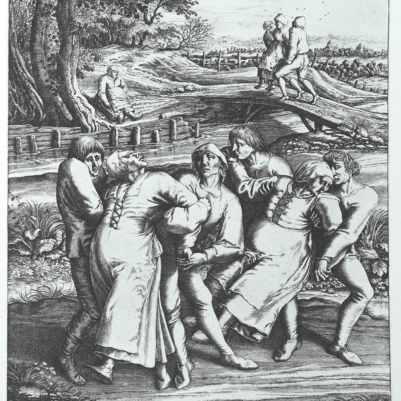 Engraving that portrays  three women affected by the plague, via Wiki Commons