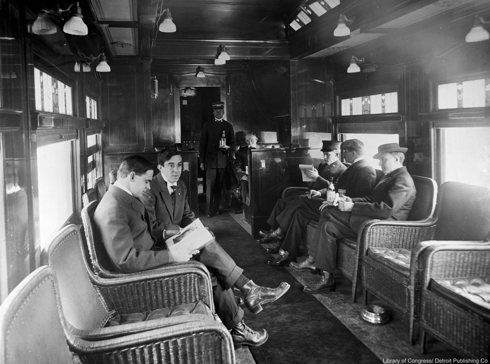 Deluxe overland limited train buffet library car, 1910s