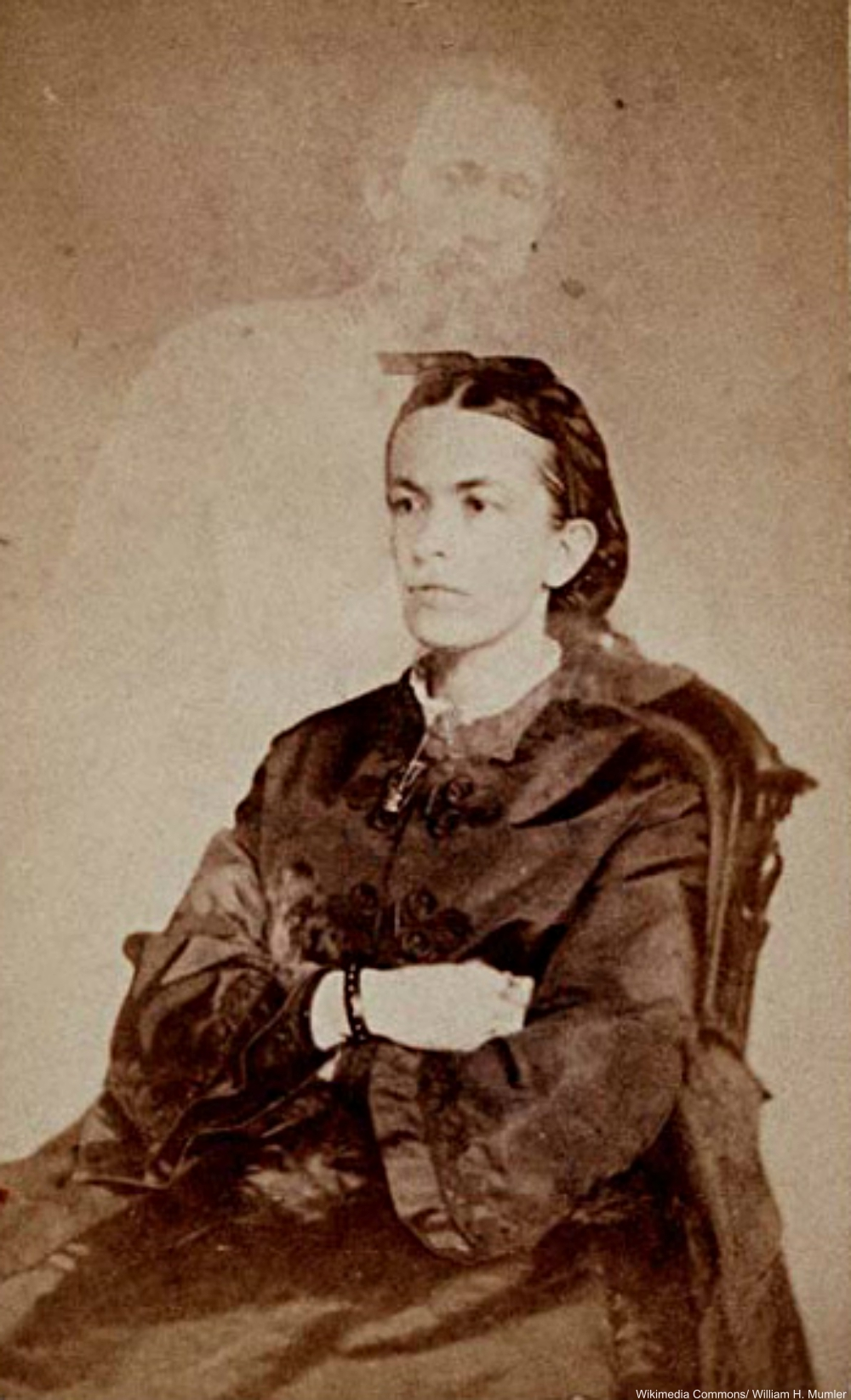 Spirit photography by known fraudster William Mumler, 1868