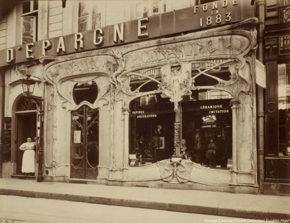 Boutique art nouveau, 45 rue st. Augustin, Eugène Atget 1920s Paris shop windows