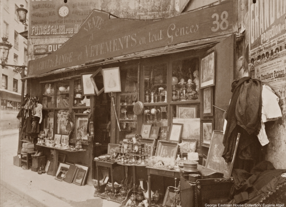 Brocanteur 38 rue Descartes Eugène Atget 1920s Paris shop windows